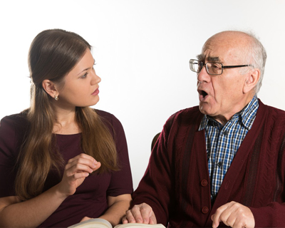 a senior man getting a speech therapy